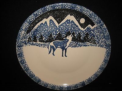 "Tienshan Folk Craft Wolf 12"" Blue Sponge Paint Plate Platter"