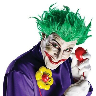 The Joker Costume Accessory Kit Adult Men Wig+Gloves+Squirting Flower Halloween