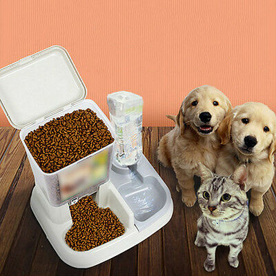 Automatic Pet Feeder Food Water Dispenser Dish Dog Cat Bowl Drinking Bottle NEW