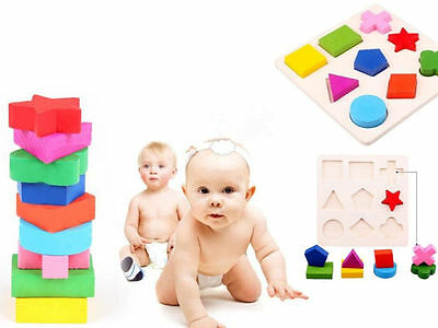 Top Promotion Wooden 9 Shapes  Colorful Puzzle Toy Baby Educational Toy
