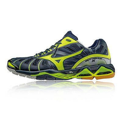 Mizuno Wave Tornado X Mens Yellow Blue Indoor Court Sports Shoes Trainers