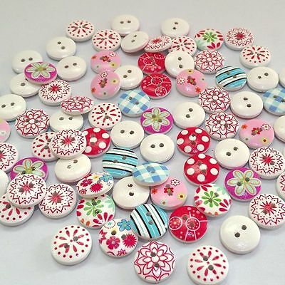 100Pcs/lot 2 Holes Printing Round Pattern Wood Buttons Scrapbooking 15mm