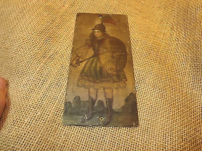 Vintage  Folk Art South American Icon Painting On Brass Sheet For Decoration