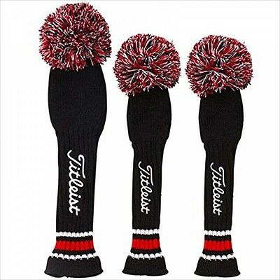 NEW TITLEIST Knitted Head Cover 3 Set Black × Red (AJHC3D×1+AJHC3F×2) Japan F/S