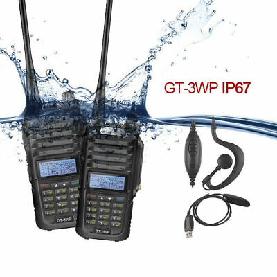 2x Baofeng GT-3WP Dual Band Two-way Radio Transceiver Waterproof IP67 +USB Cable
