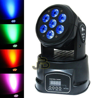 Proiettore Led Rgb Testa Rotante Mobile Effetti Disco 7 Led 10w Led Dmx Party
