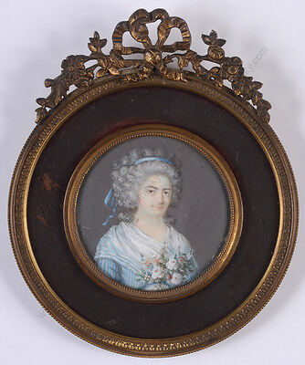 "Barbe Edmée Chardon (b. 1761) ""Portrait of a young lady"", rare miniature!!, 1790"