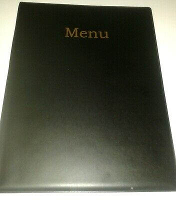 QTY 10 (TEN)A4 MENU COVER/FOLDER IN BLACK LEATHER LOOK PVC + extra double pocket