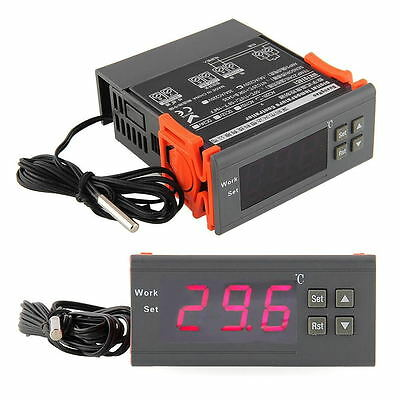 220V Digital LCD Display Temperature Controller Switch Thermostat Relay w/Sensor