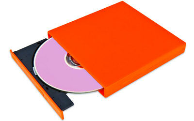 Externer USB DVD / CD Brenner, Slim Laufwerk, orange