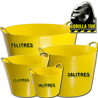 Gorilla Super Strong Plastic Flexible Food Safe Yellow Various Sizes Tub Buckets