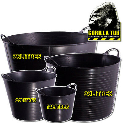 Gorilla Super Strong Plastic Flexible Recycled Black Various Sizes Tubs Buckets