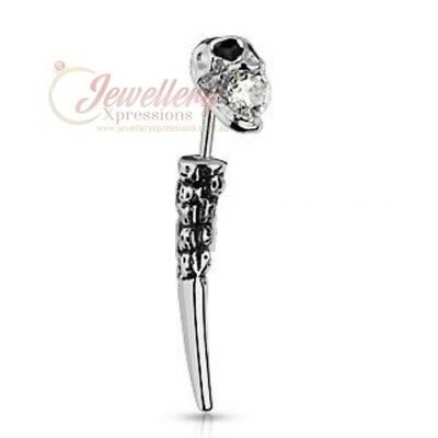 Skull CZ Fake Taper 316L Surgical Steel BR007