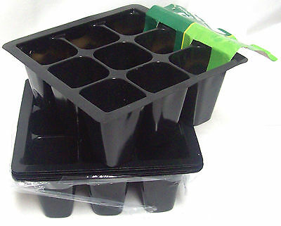 Pack Of 6 Roots & Shoots 9 Segment Section Seedling Germination Grow Pots Tray