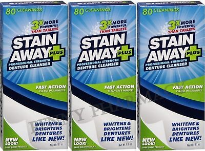 Stain Away Plus Denture Cleanser 8.1oz each (3 PACK) PRIORITY SHIP ****