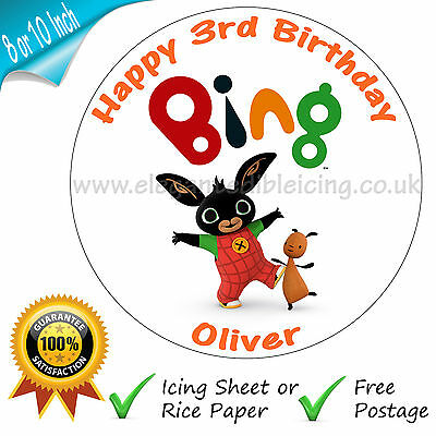 Bing Cake Topper Personalised Edible Bing Cbeebies Birthday Party Cake Topper