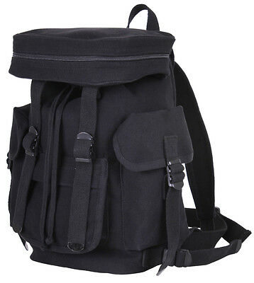 Small Black European Canvas Rucksack Shoulder School Student Book Bag Backpack