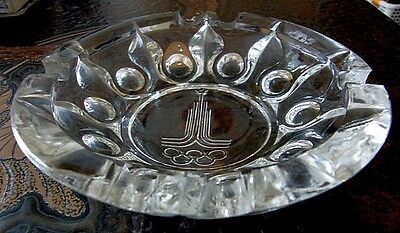 Moscow Olympics 1980 CRYSTAL ASHTRAY Original Very Rare Collectible