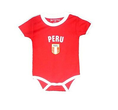 Peru Baby Bodysuit Soccer Jesrey Internation Flag TShirt Cotton