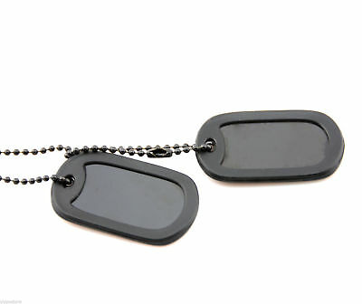 Black Tactical Military Spec Army ID Dog Tag Set w/Ball Chains & Silencers