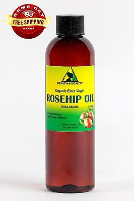 ROSEHIP SEED OIL UNREFINED ORGANIC by H&B Oils Center COLD PRESSED PURE 4 OZ