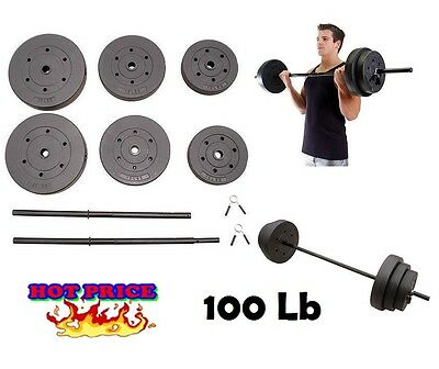 Exercise Equipment Barbell Muscle and Fitness Home Gym Weight Set Barbells 100Lb