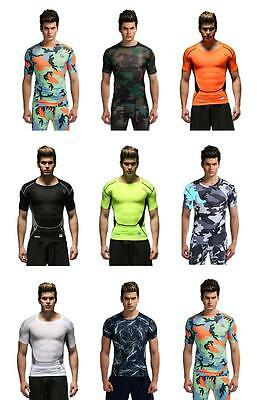 Men's Compression T-Shirt Workout Top Thermal Shirt Skin Fit Base Layer Fitness