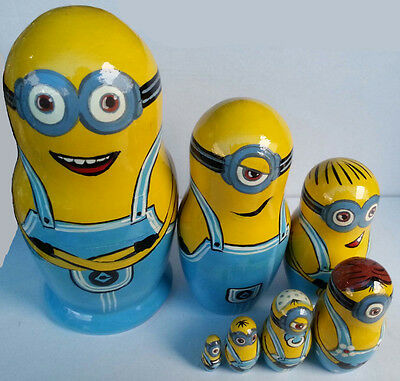 Minions Matryoshka Wooden Nesting Dolls Despicable Me Movie Characters Toys 7pc
