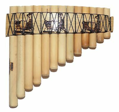 Small Pan Flute 13 Pipes  Llamas  Design  See Video  From Peru -Item In Usa