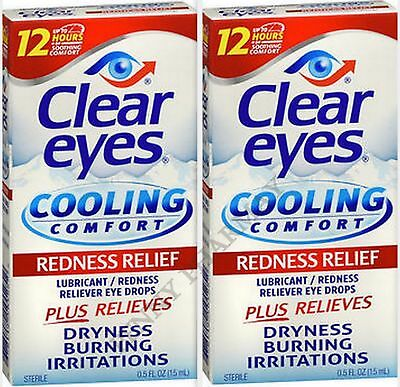 Clear Eyes Drops COOLING Comfort Redness Relief  0.5oz ( 2 Pack )