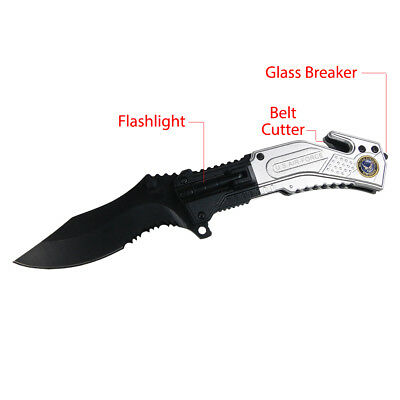 "8"" Air Force Tactical LED Flashlight Spring Assisted Folding Pocket Knife"