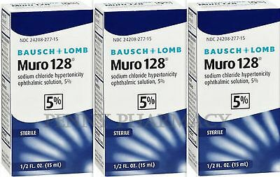 B&L Muro 128  5% Sodium Chloride DROPS 15 ml (3 Pack) PRIORITY INSURED***