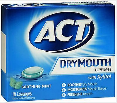 Act Dry Mouth LOZENGES MINT w/ Xylitol 18 ct ****