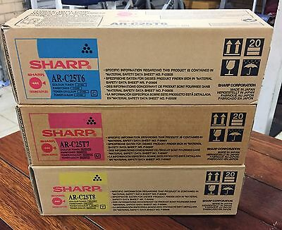 New and Genuine Sharp AR-C25T colour toner set