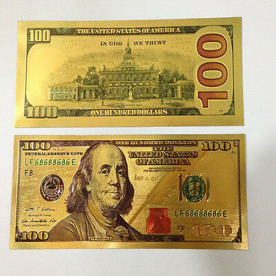 A Piece of 100 USD Gold Coloured Banknote/ Paper Money/UNC