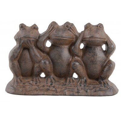 Hear No Evil See No Evil Speak No Evil Cast Iron Frogs, New, Free Shipping