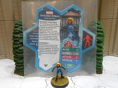 Heroscape Custom Invisible Woman Double Sided Card & Figure v2a w/ Sleeve Marvel