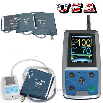 Ambulatory Blood Pressure Monitor+USB Software 24h NIBP Holter ABPM50 FDA 3 cuff