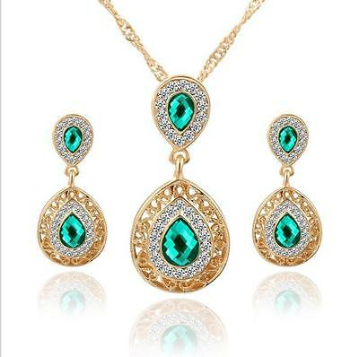 Elegant Water Drop Crystal Jewelry Set Gold Plated Nacklace Earrings Gift + K