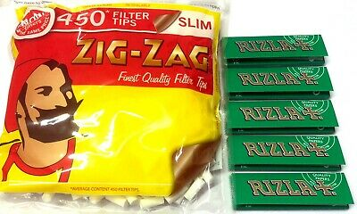 1 x ZIG ZAG SLIM Filter Tips with 5 x RIZLA GREEN Cigarette Rolling Papers