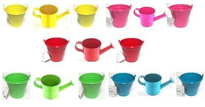 3 Piece Bright Kids Small Zinc Metal Watering Can & Metal Bucket Plant Pots