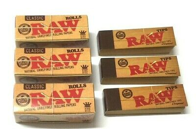 Raw Rolls Rips Rolling Paper & Raw Roach Roaches Smoking Filter Tips Combo Deal
