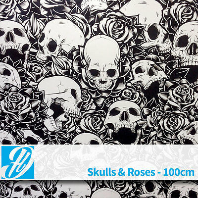 Skulls and Roses, hydrographics water transfer film 100cm wide x 2m