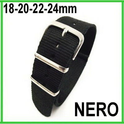 CINTURINO OROLOGIO NATO NYLON NERO BLACK STRAPS BANDS WATCH 18mm 20mm 22mm 24mm