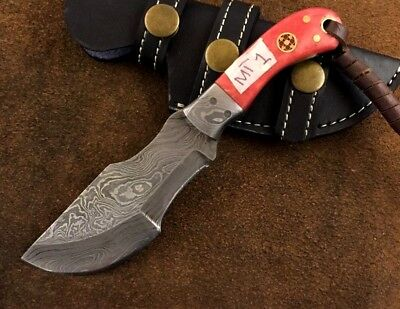 Handmade-Blacksmith Crafted Damascus Steel Mini Tracker Knife-Sheath-MT1