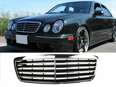 * Chrome + Black Front Grille For Mercedes Benz W210 E-Class E300 E320 Facelift