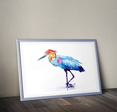 Wild Heron bird Color Watercolour PRINT of original painting signed by artist