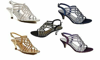 New EVENING SANDALS Ladies Gold Silver Black Purple Navy Sparkly Low Heel Size
