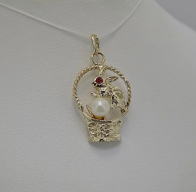 14K Yellow Gold Bunny In A Basket With Cultured Pearl & Ruby Accent Charm