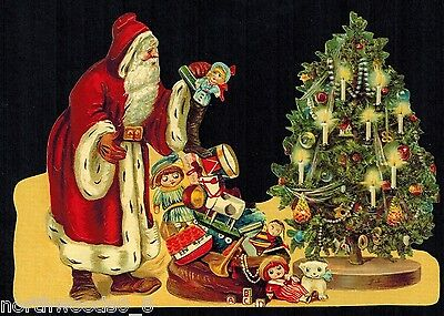 Santa Tree Victorian Christmas Toys Candles Dolly Gifts Germany Scrap Large Card
